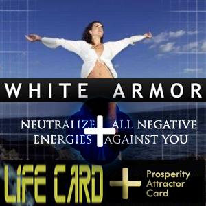 COMBO: 2 Life Cards + 1 Bonus Prosperity Attractor Card + White Armor Set